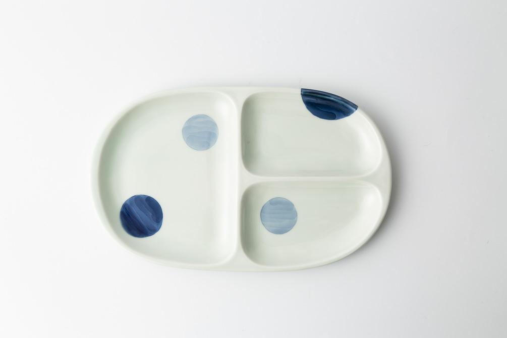64 大人の仕切り皿  二色丸紋 青2-item
