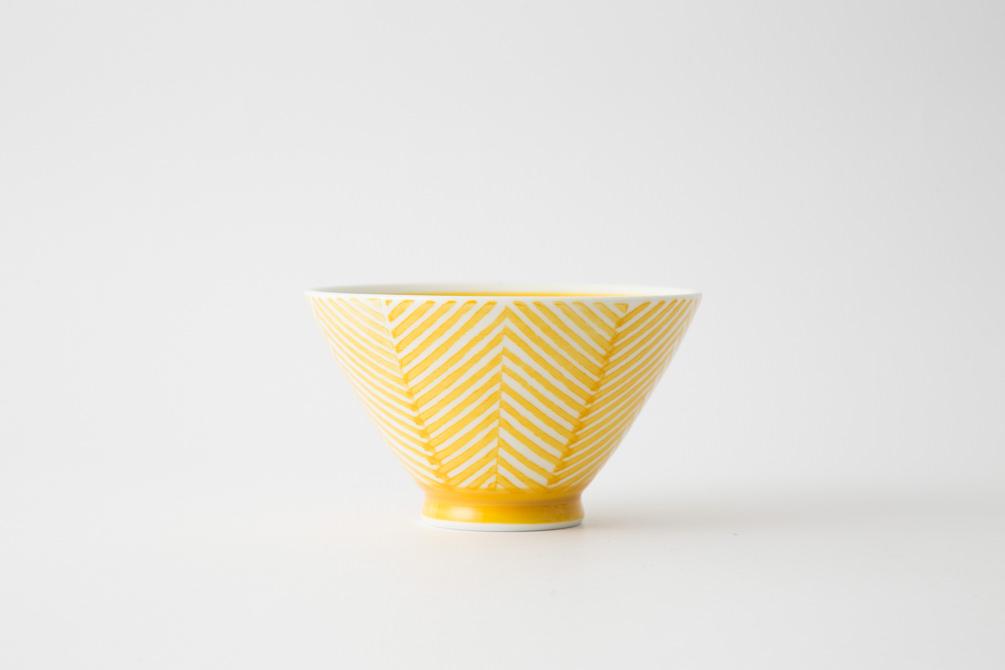 131 ヘリンボーン 茶碗 イエロー1-item