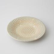 156 P鹿の子 四寸丸皿 ホワイト1-item