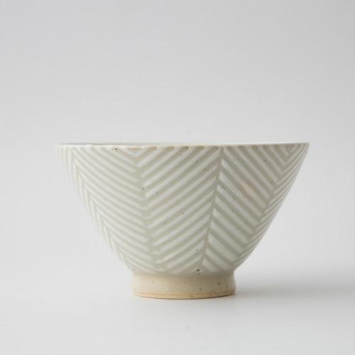 171 Pヘリンボーン 茶碗大 ホワイト1-item