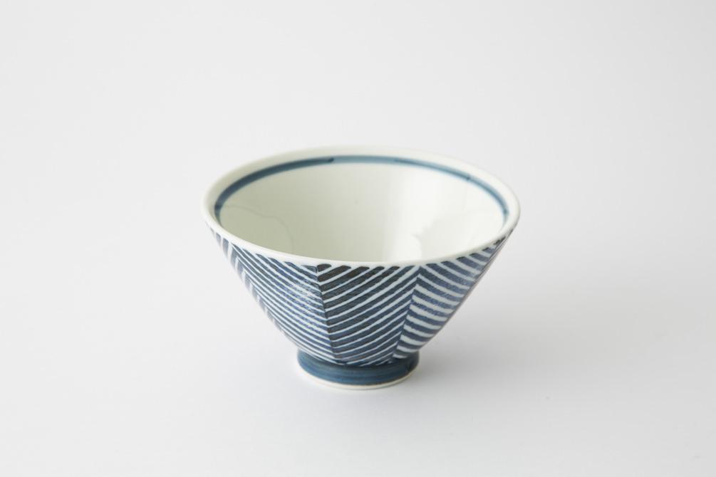 129 ヘリンボーン 茶碗 ブルー2-item