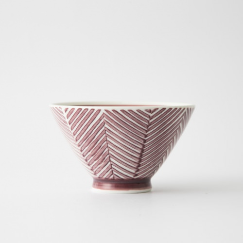 132 ヘリンボーン 茶碗 マロン1-item