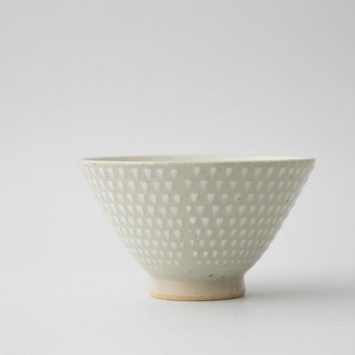 159 P鹿の子 茶碗 ホワイト1-item
