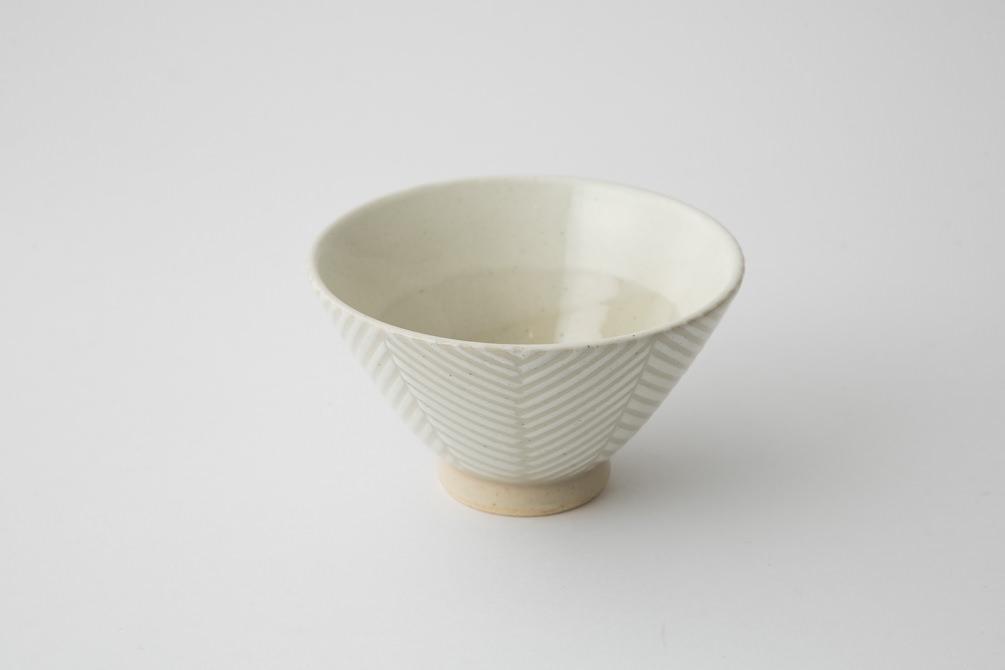 172 Pヘリンボーン 茶碗 ホワイト2-item