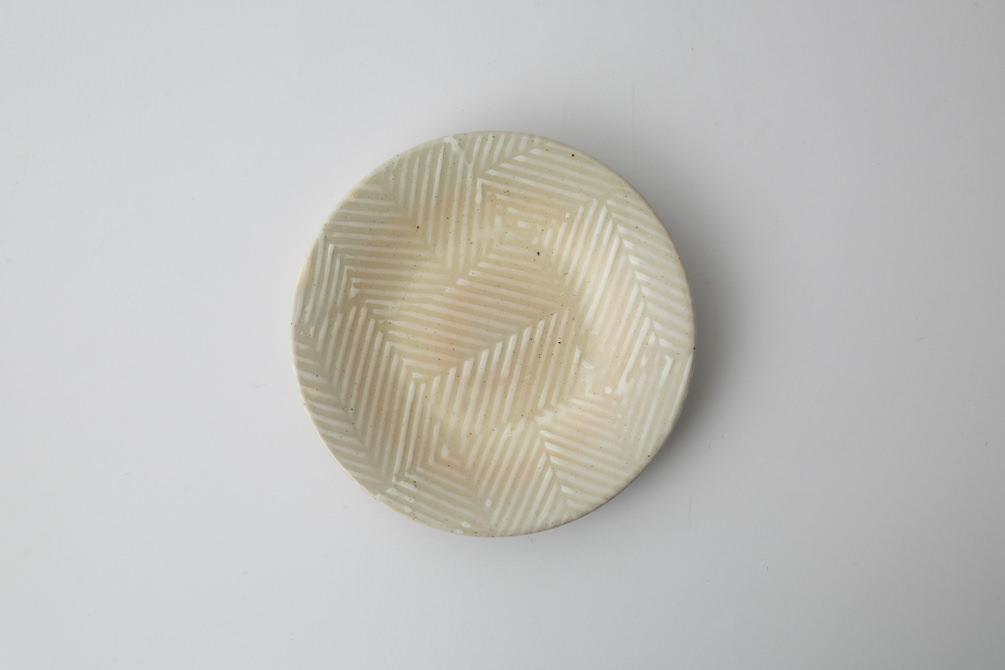 169 Pヘリンボーン 四寸丸皿 ホワイト2-item