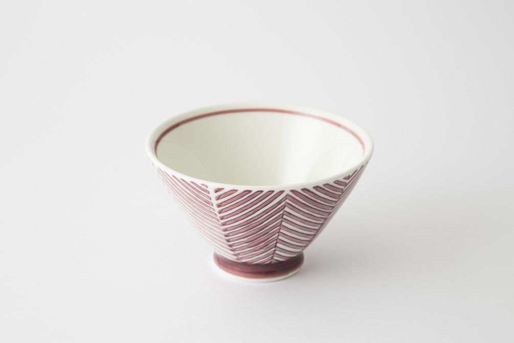 132 ヘリンボーン 茶碗 マロン2-item