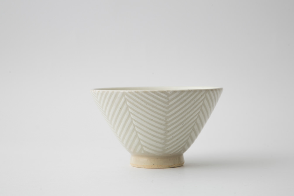 172 Pヘリンボーン 茶碗 ホワイト1-item