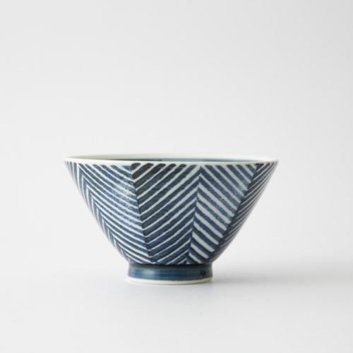 129 ヘリンボーン 茶碗 ブルー1-item