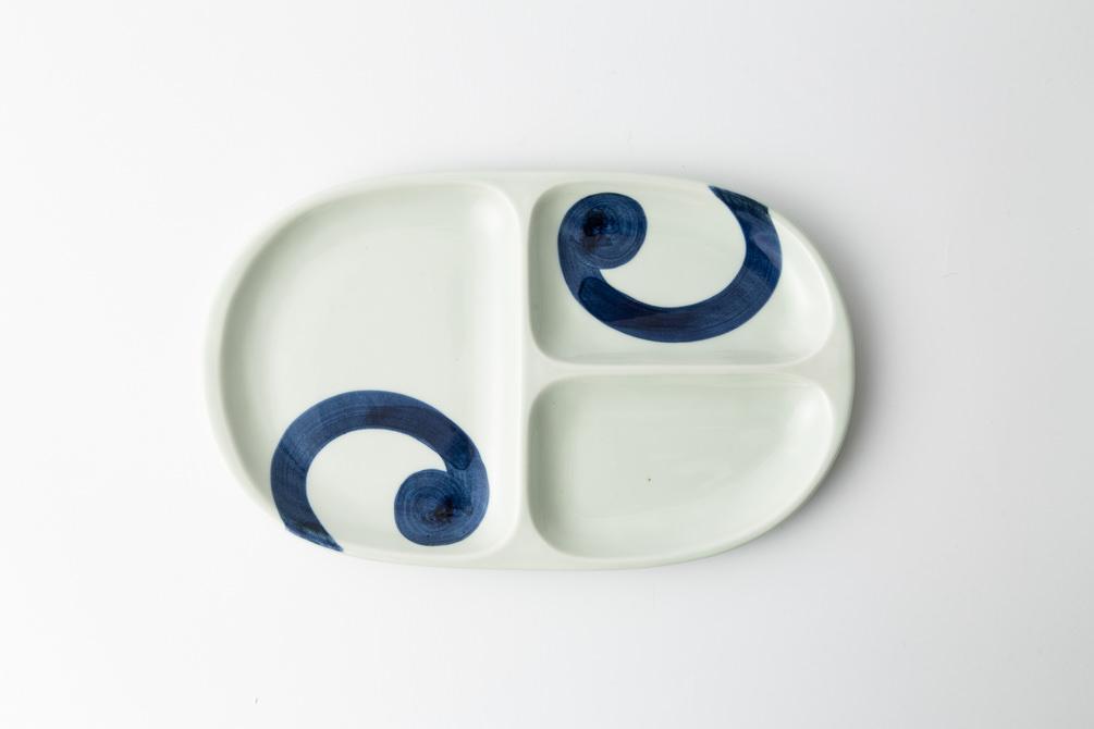 60 大人の仕切り皿 渦紋 青2-item