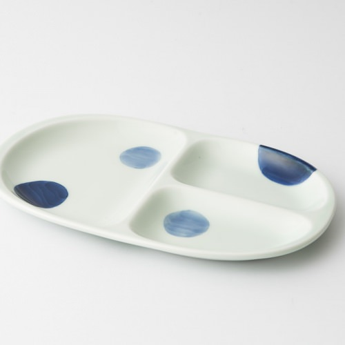 65 ミディプレート 二色丸紋 青1-item